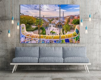 3 Panel Barcelona Park Guell Leather Print/Park Guell Large Print/Multi Pieces/Barcelona Wall Decor/Barcelona Wall Art/Better than Canvas!