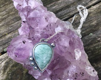 """AMAZONITE PENDANT, Handmade, Sterling Silver, 20"""" Sterling Silver Cable Chain, Ready To Ship!"""