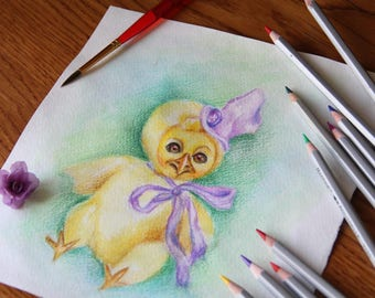Watercolor sketch small yellow baby chick in purple hat. Size 8.26 inches (21 cm)