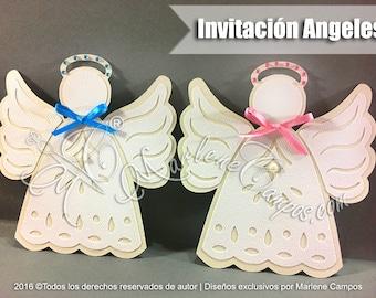 Angel invitation, Baptism Invitation for boy, Christening Invitation, Angel Invitation baptism, Angel Baptism Invitation
