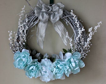Ice Blue and White Winter Wonderland Wreath