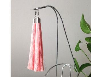Peach Pink earrings, fringe earrings, clip on tassel earrings, bohemian earrings, pink boho earrings, hippy earrings, gypsy earrings - PINK