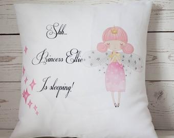 "Personalised Princess Sleeping ~ 16"" white cushion/pillow cover vintage shabby chic nursery girl"