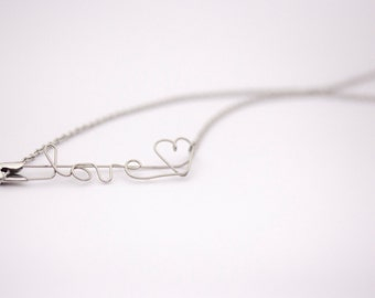 Safety Pin Necklace - LOVE