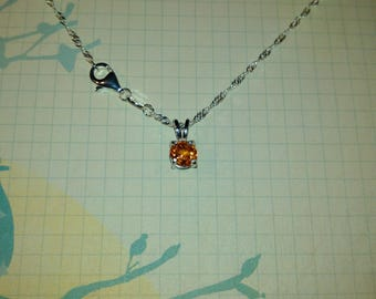 Fanta Orange Spessartite Garnet Solid Sterling Silver Necklace
