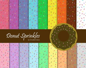 Donut Sprinkles, Digital papers + 1 clipart donut