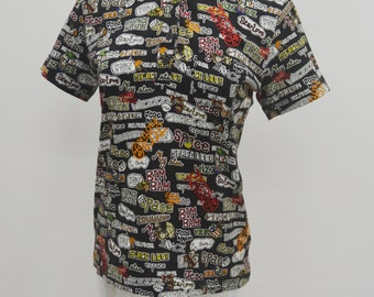 Jean Charles de Castelbajac Vintage Jean Charles de Castelbajac Sports Exotik All Over Print Polo Tee T Shirt Size 2