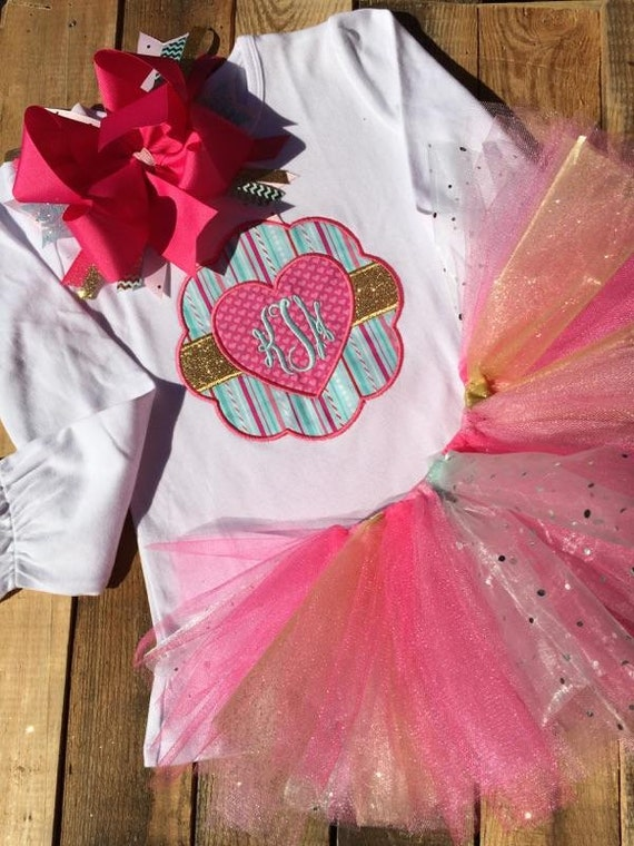 Valentine's Day Tutu Set, Girls Tutu Set, Personalized Valentines Day outfit, Monogram Valentines Day outfit, sister matching outfit