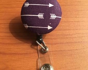 Purple Arrow Patterned Fabric Button Retractable Badge Reel Nurse Teacher Doctor Badge Name ID Holder