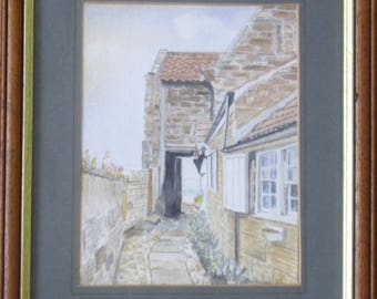 A Watercolour of Cosy Corner, Robin Hoods Bay by Ron Dodds.