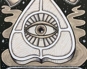 ouija drawing dessin occult planchette eye oeil esprits