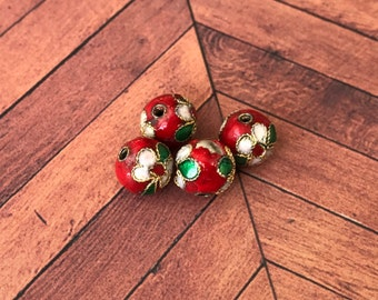 Qty4 10mm Handmade Cloisonne Beads, Red With White Flowers, Floral Beads, Enamel