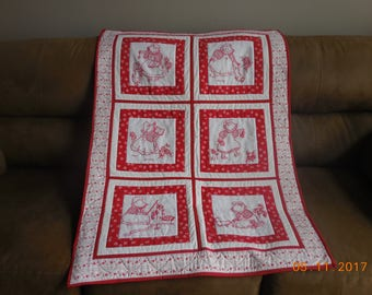Baby quilt, redwork quilt, girl's quilt, quilt wall-hanging