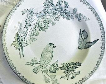Granit-de-Longwy-Plate-hollow-blue-decor-aux-oiseaux late nineteenth century Granit-de-longwy-assiette-creuse-bleu-decor-aux-oiseaux end XIX