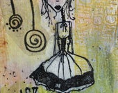 2 Goth ACEOs - Creature ACEO - Art Brut - Fantasy Art - Whimsical ACEO - Creepy Aceo - Dark Art Card