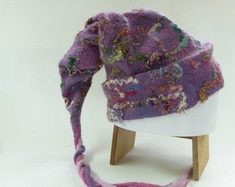 Merinowollen hat, lilac purple, handgevilt Merino Wool and silk threads, unique hat for girls, fall winter,