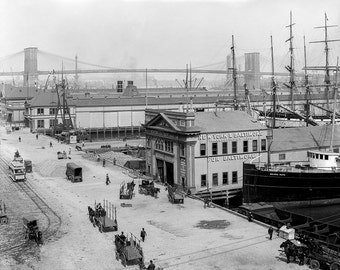 South Street Piers New York City Photograph, NYC, Black and White Art Print, Historical Wall Art, New York Ships, New York East River Bridge