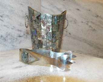 Vintage Mid-Century Abalone Ice Bucket with tongs