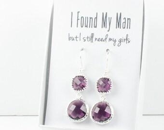 Long Amethyst Silver Earrings, February Birthstone Earrings, Purple Silver Earrings, Bridesmaid Earrings, Purple Wedding Jewelry