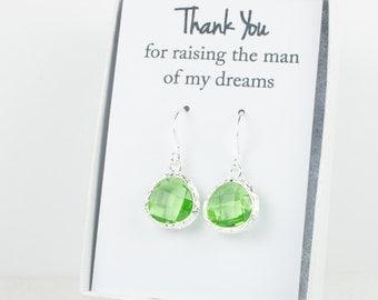 Peridot Silver Earrings, Silver Green Earrings, Bridesmaid Gift, Green Wedding Jewelry, Bridesmaid Earrings, Green Bridal Accessories
