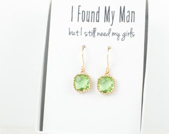 Peridot Gold Earrings, Square Gold Green Earrings, Green Wedding Jewelry, Bridesmaid Gift, Bridesmaid Earrings, Green Bridal Accessories