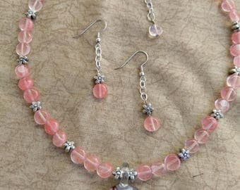 Cherry Blossom Necklace and Dangle Earring Set with Silver Accents