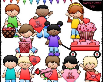 Valentine's Day Kids Clip Art and B&W Set