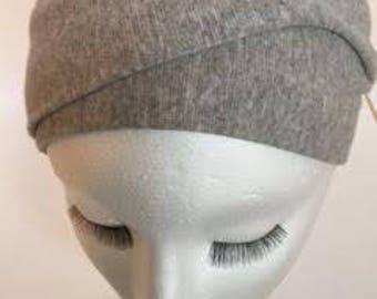 Double knit gray turban headband for ladies