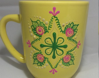 Henna Inspired Handpainted Mug