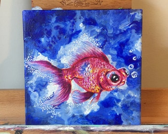 Iridescent Goldfish - Original Mini Acrylic Painting on Canvas