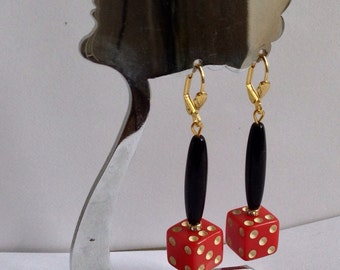 Fabulous Art Deco vinatge cherry red bakelite dice earrings rockabilly