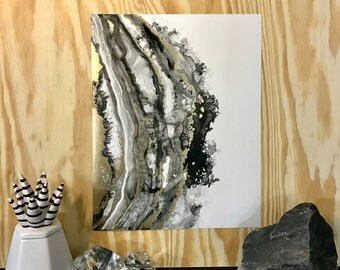 Black and Gold Abstract Geode Original Painting- 11x14