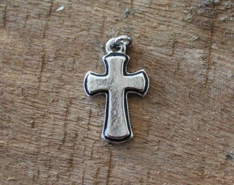 Silver Solid Cross Charm