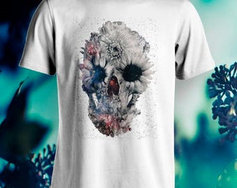 Indie flowers beautiful design skull T-Shirt