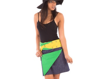 Reversible Cotton Skirt Blue Denim Yellow Green with Detachable Pocket Medium Length