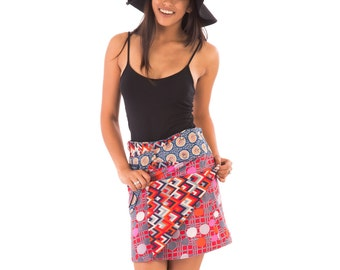 Reversible Cotton Skirt Red Blue Black Orange White Print with Detachable Pocket Medium Length