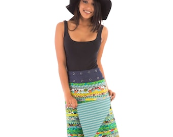 Reversible Cotton Skirt Green Patch Blue White Print Denim Belt Long Length