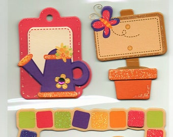 Garden Chipboard 3D Glitter Tag Stickers Forever In Time Scrapbook Embellishments Cardmaking Crafts
