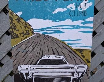 """Pikes Peak Hill Climb Woodcut Poster - 11""""x17"""""""