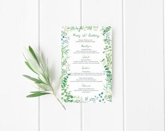 Custom Watercolor Menu for Weddings, Parties, Events