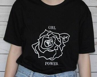 Girl Power Hand Drawn Rose T-shirt