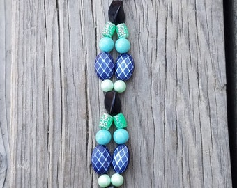 Beaded Keychain/ Turquoise/ Navy Blue/ Black