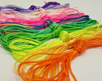Rat Tail Cord, Macrame Knotting Satin Cord, 5 Metre Hanks, Colourful 2.5mm Polyester Rattail Yarn, Celtic Knotting, Chinese Knotting, 5m