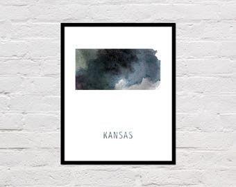 Kansas Map Print, Printable Kansas State Map, Kansas Art Print, Kansas Printable Wall Art, Watercolor Map, Kansas Poster, Digital Download