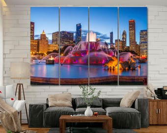 "Chicago Skyline Canvas Print Large 40x60"" 1 3 4 5 Panels Chicago Wall Art Home Decor Multi panel Buckingham Fountain skyline canvas print"