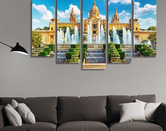 LARGE XL National Museum in Barcelona Canvas, Placa De Espanya, Spain Canvas Print Wall Art Print Home Decoration - Framed and Stretched