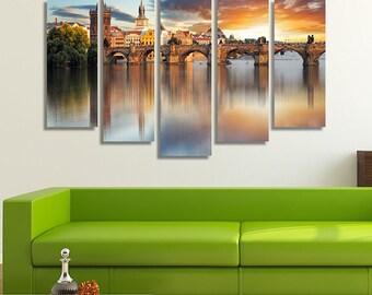 LARGE XL Charles Bridge at Sunset, Prague, the Czech Republic Canvas Print, Wall Art Print Home Decoration - STRETCHED