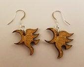 Yawë (elf friend) wood pendant earrings