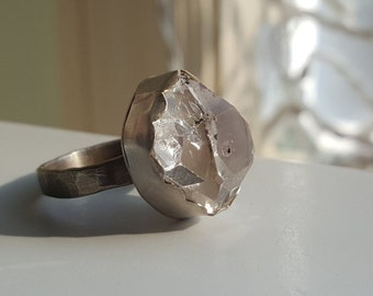 Handmade Sterling Silver And Herkimer Diamond Ring Hammered Ring