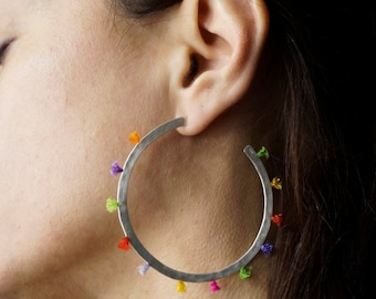 Multicolor Silver Big Hoops, color stings, hammered sterling silver, handmade jewelry, gift for her
